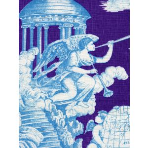 302282F-CU INDEPENDENCE TOILE Turquoise Purple on Linen Quadrille Fabric