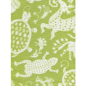 9010-06 INDRAMAYU REVERSE Jungle Green on White Quadrille Fabric