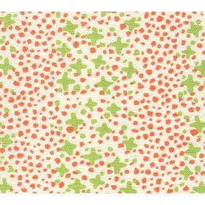 AC220-07LC JACKS II Lime Green Orange Dots on Tint Quadrille Fabric