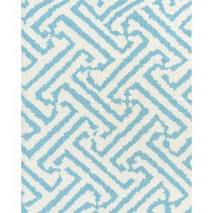 6620-04W JAVA GRANDE Turquoise on White Quadrille Fabric