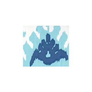 302830U-07W KAZAK Aqua Royal Blue on White Suncloth Quadrille Fabric