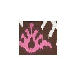 302830U-15W KAZAK Brown Pink on White Suncloth Quadrille Fabric