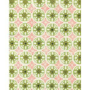 8170-04 KEDIRI BATIK Coral Forest Jungle Pistache Quadrille Fabric