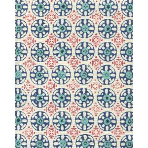 8170-05 KEDIRI BATIK Red Navy New Navy Turquoise Quadrille Fabric