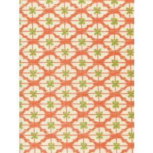 7135-06 KYOTO TWO COLORS Orange New Jungle on Tinted Linen Quadrille Fabric