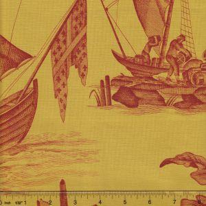 1597-13 LAFAYETTE TOILE Jaune Corail Quadrille Fabric