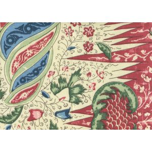 302651F LES INDIENNES MULTICOLOR Red Blue Olive Quadrille Fabric