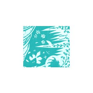 302662F LES INDIENNES Turquoise on Tint Quadrille Fabric