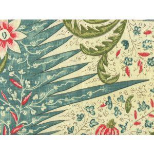 302650F LES INDIENNES MULTICOLOR Salmon Green Turquoise Quadrille Fabric