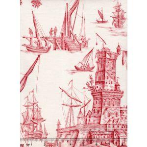 1589-01 LES PECHEURS TOILE Rouge Quadrille Fabric
