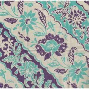 7810T-04 LIM DIAGONAL Turquoise Purple on Tan Quadrille Fabric