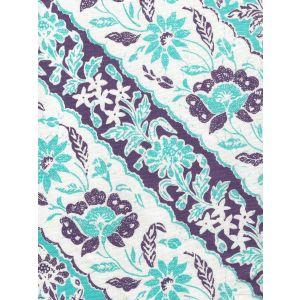 7810-04 LIM DIAGONAL Turquoise Purple on White Linen Cotton Quadrille Fabric