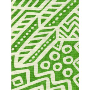 AC304O-22 LITTLE MARGIE ON OSCAR Jungle Green on Ivory Quadrille Fabric