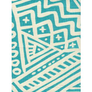 AC304O-23 LITTLE MARGIE ON OSCAR Turquoise on Ivory Quadrille Fabric