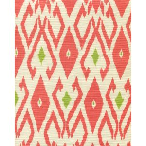 8080-06 LOCKAN Coral Jungle Green on Tint Quadrille Fabric
