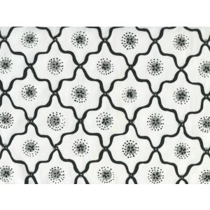 306320C-09CTT LONGFELLOW Black,Grey on White Cotton Quadrille Fabric