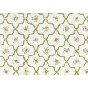 306320C-07CTT LONGFELLOW Moss Green Taupe on White Cotton Quadrille Fabric