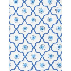 306320C-06CTT LONGFELLOW Royal New Blue on White Cotton Quadrille Fabric