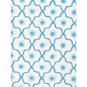 306320C-01CTT LONGFELLOW Turquoises on White Cotton Quadrille Fabric