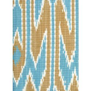 7300-04 LUCAYA IKAT MULTI Turquoise Taupe Quadrille Fabric