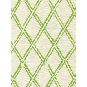 6710-04 LYFORD DIAMOND BAMBOO Jungle Green on Tint Quadrille Fabric