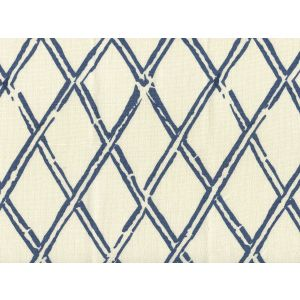 6710-02 LYFORD DIAMOND BAMBOO Navy on Tint Quadrille Fabric