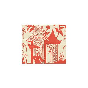 6600-11 LYFORD PAGODA PETITE Orange on Tinted Quadrille Fabric