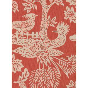 302455T-04 MAGIC GARDEN REVERSE Burnt Orange on Tan Quadrille Fabric
