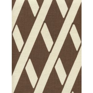 CP1050-06 MONTECITO BAMBOO Cognac on Tan Linen Quadrille Fabric