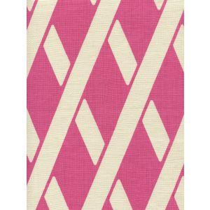 CP1050-03 MONTECITO BAMBOO Flamingo on Tan Linen Quadrille Fabric