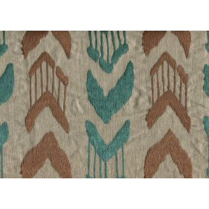 020241T-E MUMBAI IKAT Turquoise Brown Quadrille Fabric