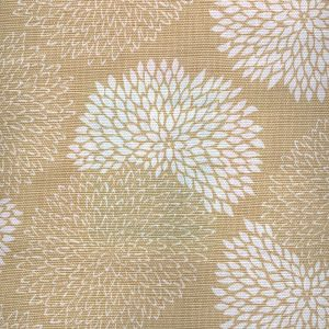 6295-02 NEW CHRYSANTHEMUM REVERSE Taupe on White Quadrille Fabric