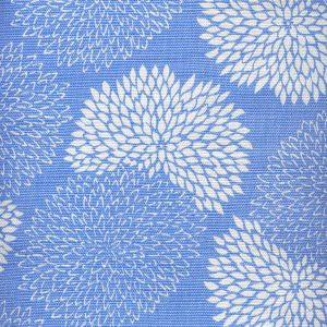 6295-03 NEW CHRYSANTHEMUM REVERSE French Blue on White Quadrille Fabric
