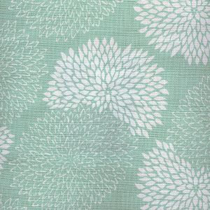 6295-04 NEW CHRYSANTHEMUM REVERSE Aqua on White Quadrille Fabric