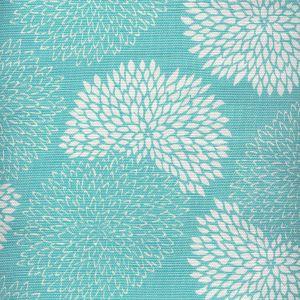 6295-05 NEW CHRYSANTHEMUM REVERSE Turquoise on White Quadrille Fabric