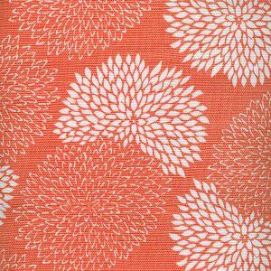 6295-13 NEW CHRYSANTHEMUM REVERSE Coral on White Quadrille Fabric