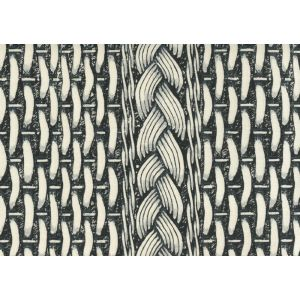 8400-01 NEWPORT RATTAN Black Gray on Tint Quadrille Fabric