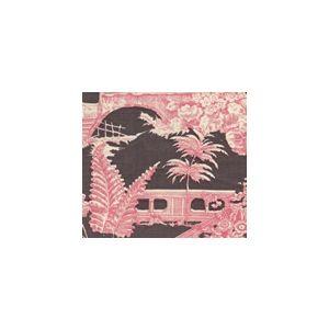 301963FWSUN PARADISE GARDEN Rose on Brown Quadrille Fabric