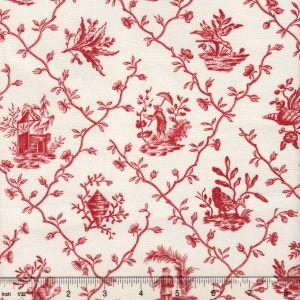 1662-02 PILLEMENT TOILE Rouge Quadrille Fabric
