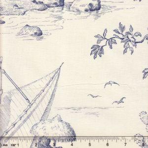 2111-01 ROBINSON CRUSOE TOILE Bleu Quadrille Fabric