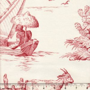 2111-03 ROBINSON CRUSOE TOILE Rouge Quadrille Fabric