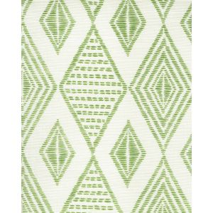 AC850-06 SAFARI EMBROIDERY Jungle Green on Tint Quadrille Fabric