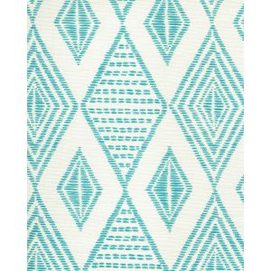 AC850-03 SAFARI EMBROIDERY Medium Turquoise on Tint Quadrille Fabric