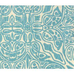 302259F SAN MICHELE Turquoise on Beige Quadrille Fabric