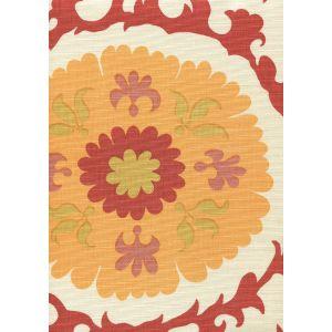 010227F SUZANI Multi Salmon Yellow on Tint Quadrille Fabric