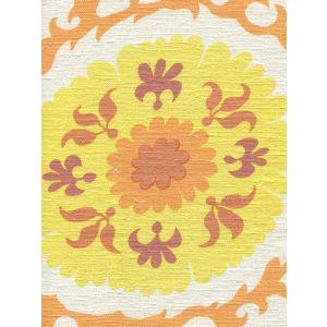 010228S SUZANI Multi Orange Yellow on Silk Quadrille Fabric