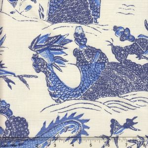 7250-04 TABLEAU II Indigo New Navy Bali Blue on Tint Quadrille Fabric