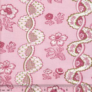 2440-03 TOILE RAYURE DE VIZILLE Rose Quadrille Fabric