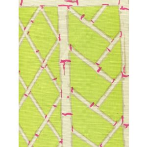 6020-09 LYFORD TRELLIS Lime Magenta Cream Quadrille Fabric