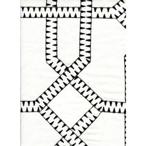 020100T-E ZEBRA EMBROIDERY Black Cream Quadrille Fabric